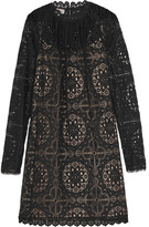 Temperley London Nomi Crocheted Lace Mini Dress - Black