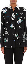 Proenza Schouler WOMEN'S LEATHER-TRIMMED FLORAL-PRINT CREPE BLOUSE
