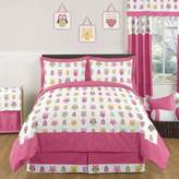 JoJo Designs Sweet Happy Owl 3-Piece Full/Queen Bedding Set in Pink