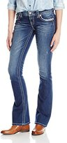 Miss Me Women's Embroidered Cross Boot Cut Denim Jean