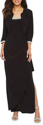 R & M Richards 3/4 Sleeve Embellished Evening Gown with Removable Jacket