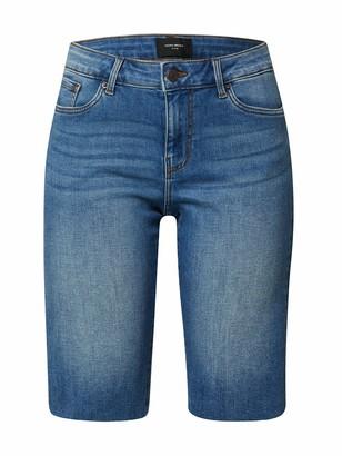 Vero Moda Women's Vmseven MR Slim Long Shorts VI363 Denim