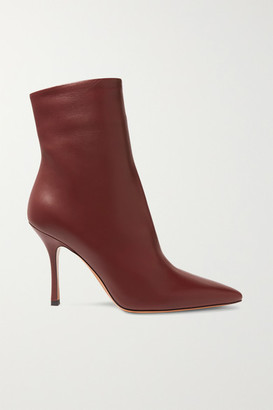 The Row Gloria Leather Ankle Boots - Burgundy