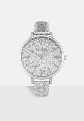 Missguided Silver Look Glitter Detail Watch