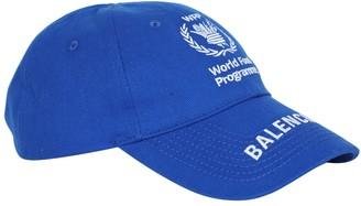 Balenciaga Wfp Logo Cap Royal/white