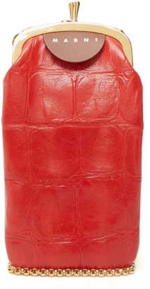 Marni Top Frame Crocodile Effect Leather Bag - Womens - Red