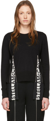 Stella McCartney Black Wool Logo Band Crewneck Sweater