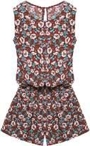 ACEVOG Women's Sleeveless Elastic Waist Boho Romper Jumpsuit W/ Pockets M