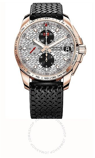 Chopard Mille Miglia GT XL Silver Dial Chronograph Rose Gold Rubber Men's Watch