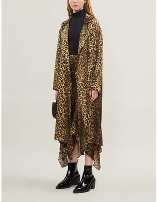 The Kooples Leopard print silk-satin kimono