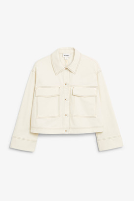 Monki Cropped contrast stitch jacket