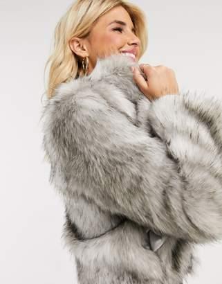 Lipsy faux fur coat in grey