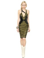 Versace Vinyl And Wool Viscose Tartan Dress