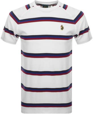 Luke 1977 Rey Pique Stripe Crew Neck T Shirt White