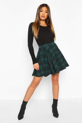 boohoo Tartan Check Fit & Flare Skater Skirt