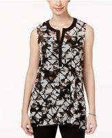 Alfani Printed Split-Neck Top, Created for Macy's