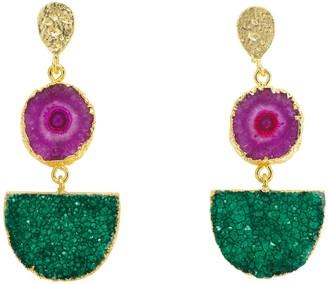 Yaa Yaa London Purple Green Gemstone Gold Statement Earrings