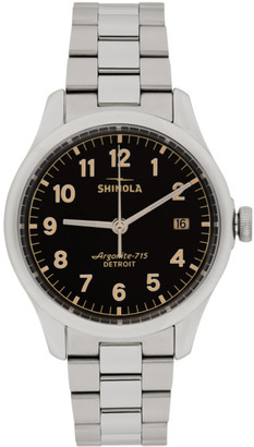 Shinola Silver and Black The Vinton 38mm Watch