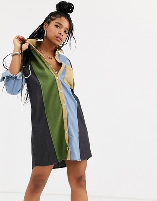 Emory Park shirt dress in contrast panels-Multi