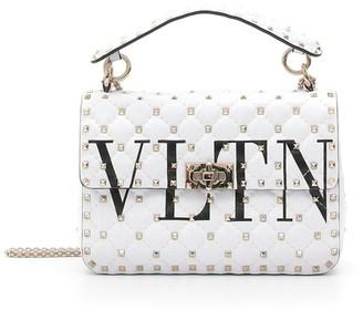 Valentino Medium Rockstud Spike VLTN Leather Shoulder Bag