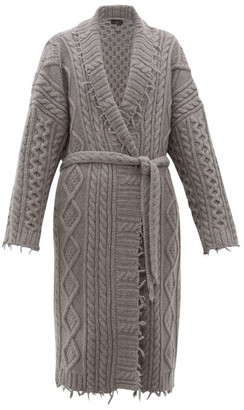 Alanui Fisherman Cable-knit Cashmere And Wool Coat - Mens - Grey