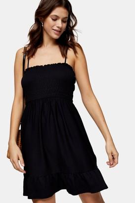 Topshop Womens Black Shirred Flippy Mini Dress - Black