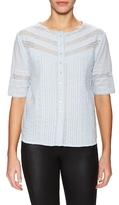 The Kooples Cotton Lace Inset Button Blouse