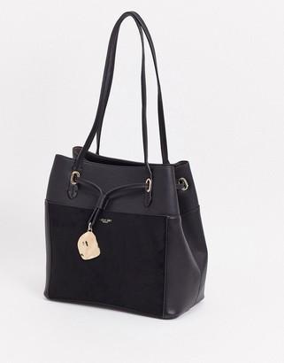 Luella Grey tote with suede contrast front pocket in black