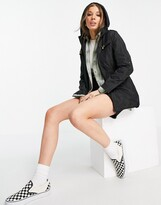 Thumbnail for your product : Brave Soul hooded mac with drawstring waist in black