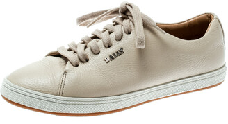 Bally Beige Leather Lace Up Sneakers Size 35