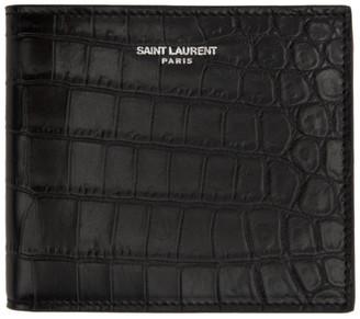 Saint Laurent Black Croc Logo Wallet