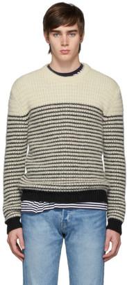 Saint Laurent Off-White and Black Stripes Crewneck Sweater