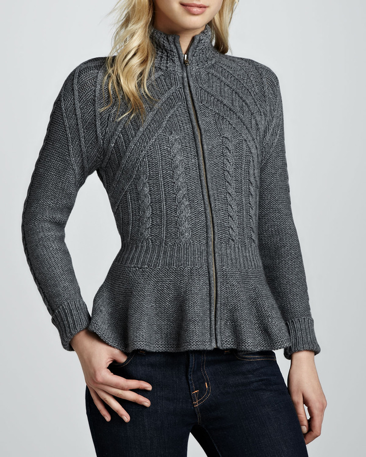 Autumn Cashmere Cashmere Zip-Front Peplum Jacket