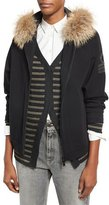 Brunello Cucinelli Military-Monili Sweatshirt with Fur-Trim Hood, Black