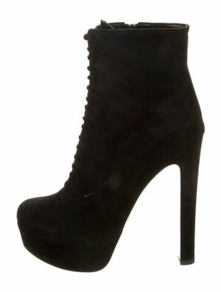 Prada Suede Lace-Up Boots Black