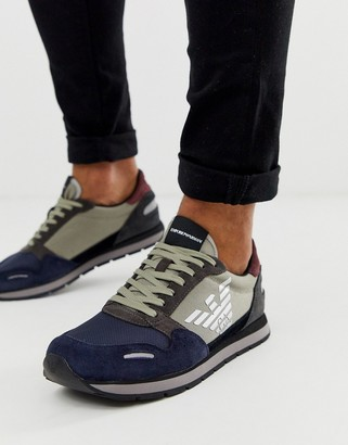 Emporio Armani logo trainers with reflective detail in navy and grey