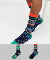 Asos Design DESIGN 2 pack ankle sock with christmas fairisle print save