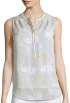 Liz Claiborne Sleeveless Piped Henley Blouse - Tall