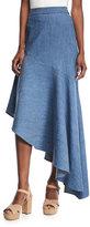 Alice + Olivia Molina Asymmetric Ruffled Chambray Maxi Skirt