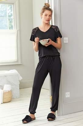 Next Womens Black Lace Pyjamas - Black