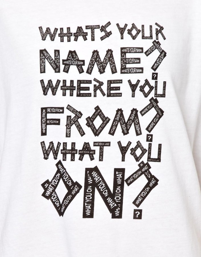 House of Holland Oversized Tee with 'Whats Your Name' Print