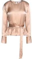Sandro Ruffle-Trimmed Belted Silk-Satin Top