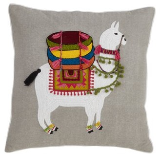 Bungalow Rose Warne Large Llama Embroidered Design Cotton Throw Pillow