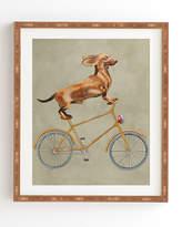 Deny Designs Coco De Paris Daschund On Bicycle Bamboo Framed Wall Art