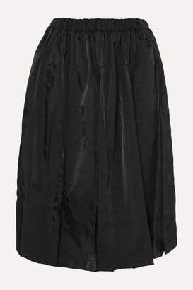 Comme des Garcons Frayed Pleated Twill Midi Skirt - Black