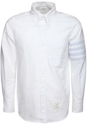 Thom Browne Straight Cotton Oxford Shirt W/ 4 Bar
