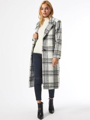 Dorothy Perkins Petite CheckSingle Breasted Coat - White/Black