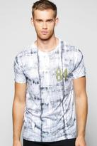 Boohoo Tie Dye Grid Sublimation T Shirt
