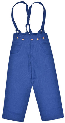 Lanefortyfive Pantaloni4 Women's Trousers With Braces - Blue Linen