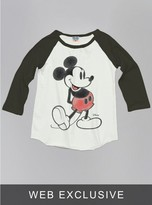 Junk Food Clothing Kids Girls Mickey Mouse Raglan-su/bw-l